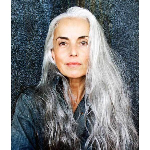 Wavy Natural Long Silver Hair with Side Part
