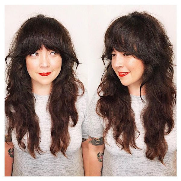 Wavy Shag with Long Brunette Layers and Winged Bangs