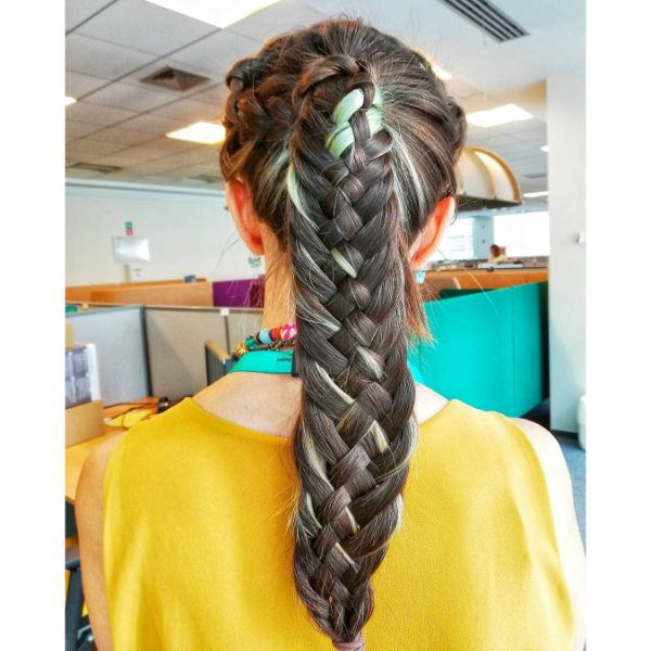 Woven Fishtail Braided Hairstyle for Long Hair