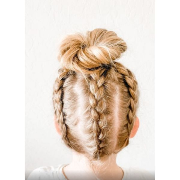 3 Dutch Braid Messy Bun