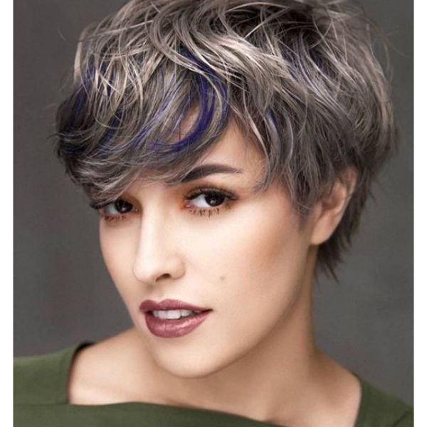 Ashy Blonde Pixie Cut with Purple Highlights