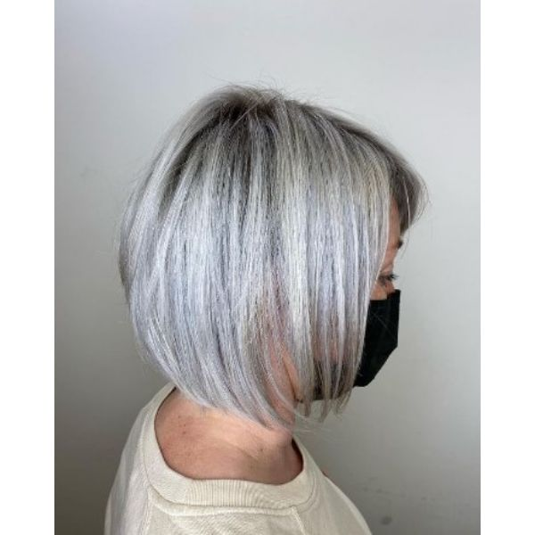 Ashy Blonde Straight Bob Hairstyles For Women Over 60
