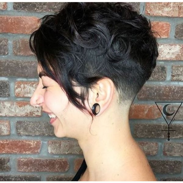 Asymmetric Curly Pixie Cut Hairstyle for Damaged Hair