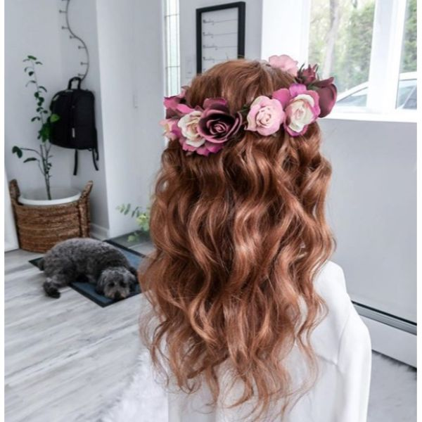 Beach Waves and Flower Crown Updo for Medium Hair