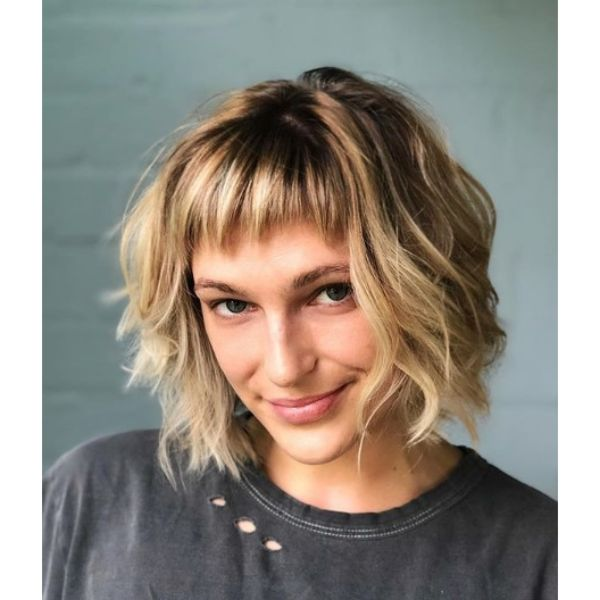 Blonde Bob with Disconnected Bangs
