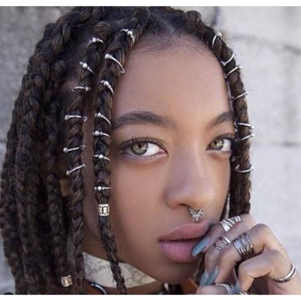 Box Braids with Hair Rings for Curly Medium Hair