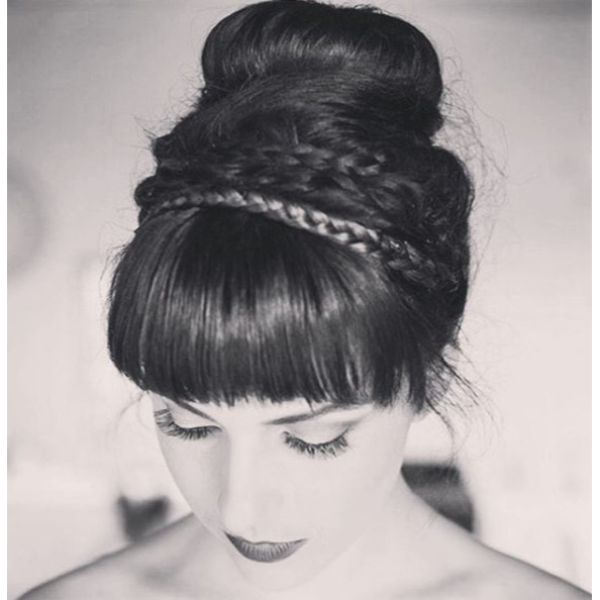 Braided Bun with a Fringe Bridal Updo