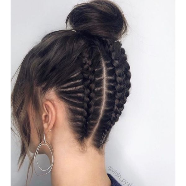 Braided Nape with High Bun Updo and Fake Fringe