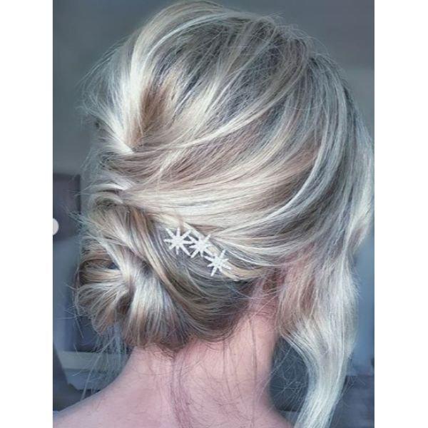 Bridal Bun Updo with Falling Front Pieces