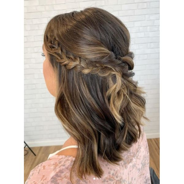 Bridal Half Updo for Medium Hair with Twists and Braids