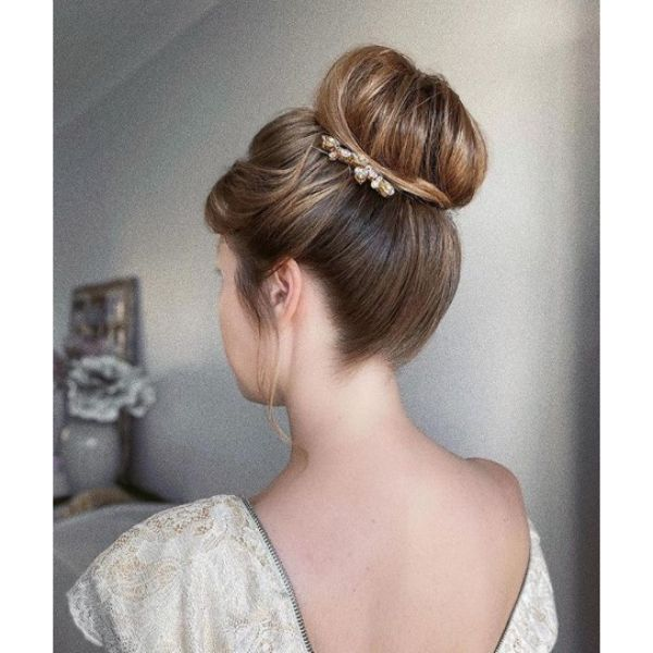 Bridal Updo with Classic High Bun and Accessory