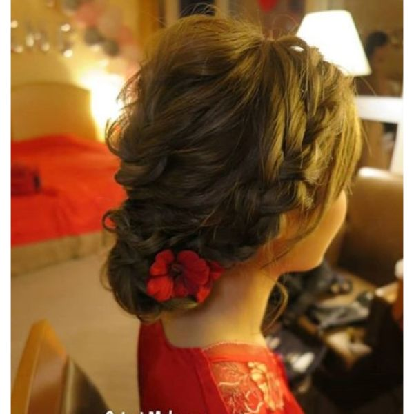 Bridal Updo with Crown Braid and Flowers