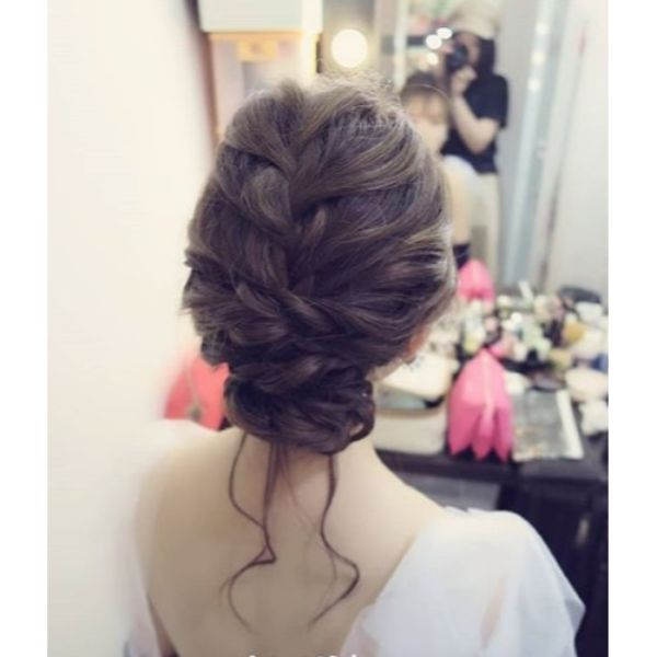 Bridal Updo for Medium Hair with French Braid and Bun