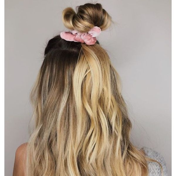 Casual Half-up Half-down Hairstyle with Scrunchie