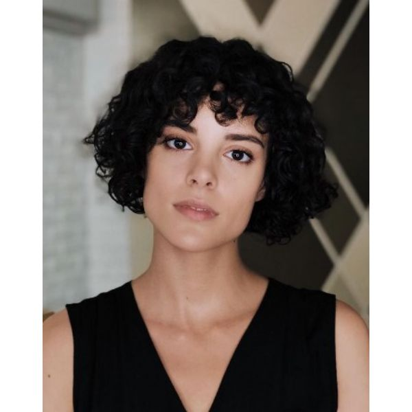 Dark Curly Bangs For Bob Hairstyle