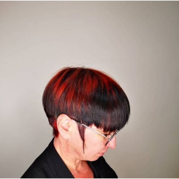 Dark Red Bowl-Cut With Long Sideburns Hairstyles For Women Over 60