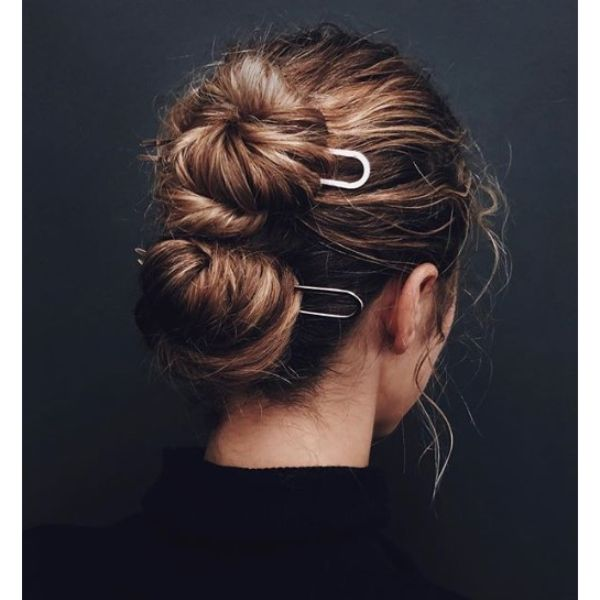 Double Buns with French Pin Updo