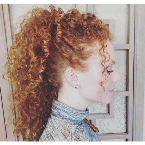 Double Ponytail Updo for Curly Hair