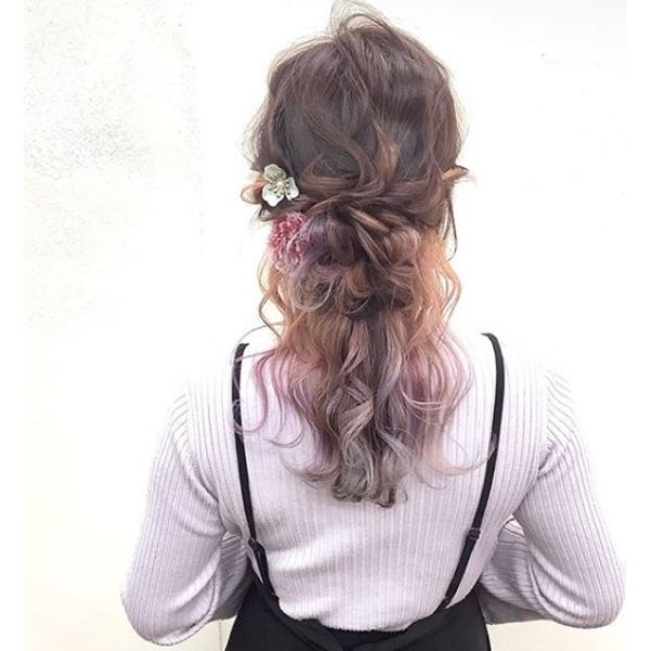 Elegant Updo with Light Colored Ends
