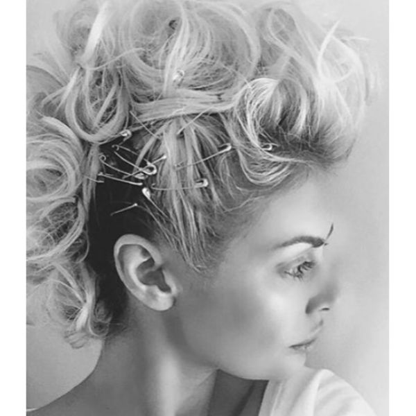Faux Hawk with Safety Pins Updo