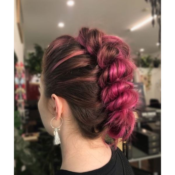 Funky Faux Braid Updo for Fuchsia Hair