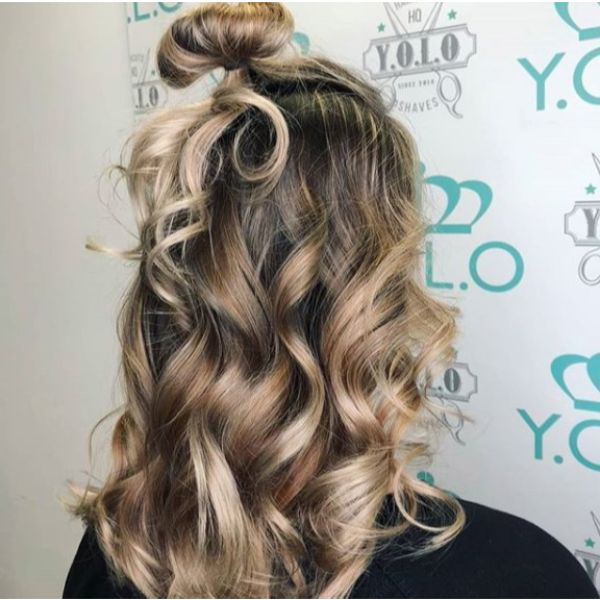 Half Top Knot for Curly Medium Highlights