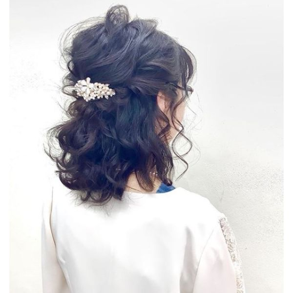 Half Updo for Brides with Medium Hair