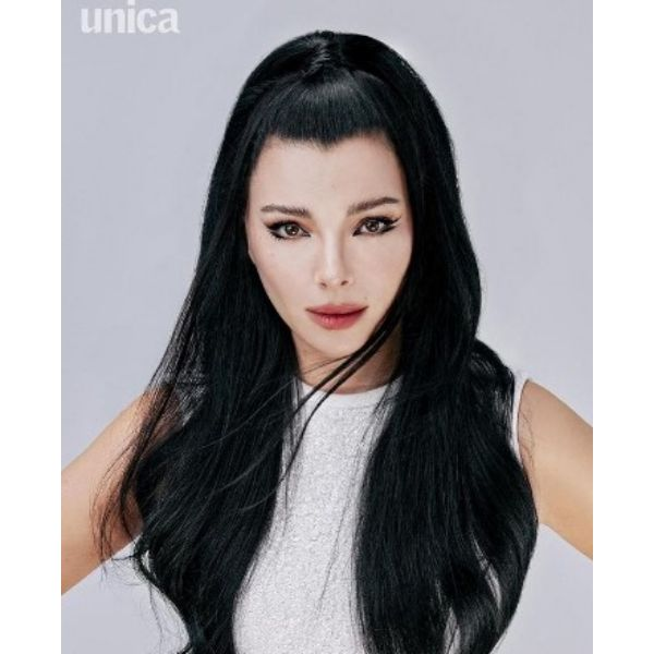 Half-up Half Down Asian Style Ponytail For Long Dark Hair