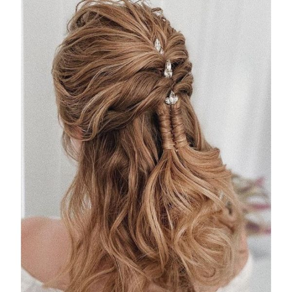 Half-up Half Down Bridal Updo with Infinity Braid