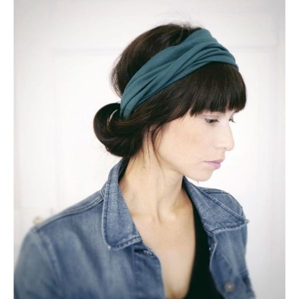 Headband Tucked in Bun with Bangs Updo