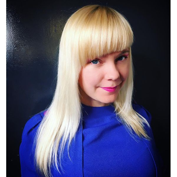 Heavy Blonde Asymmetric Bangs
