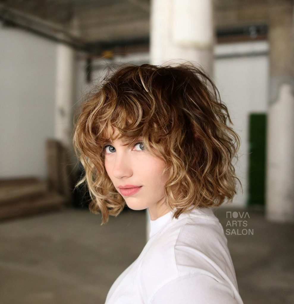 Heavy Curly Balayage Type of Bangs