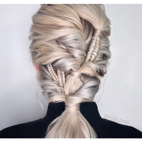 Intricate Braids Updo for Medium Blonde Hair