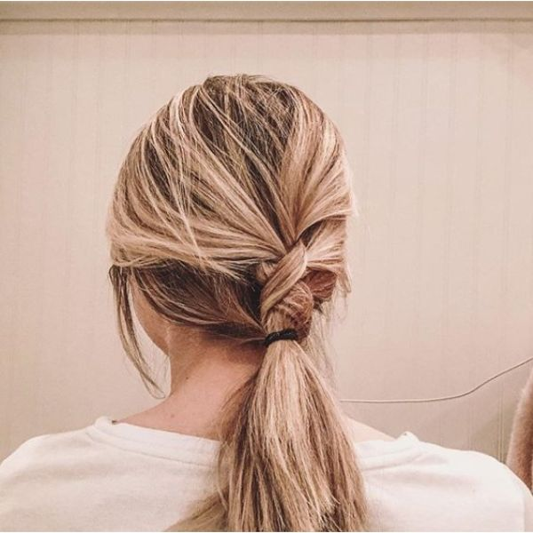 Knotted Ponytail Updo for Medium Hair