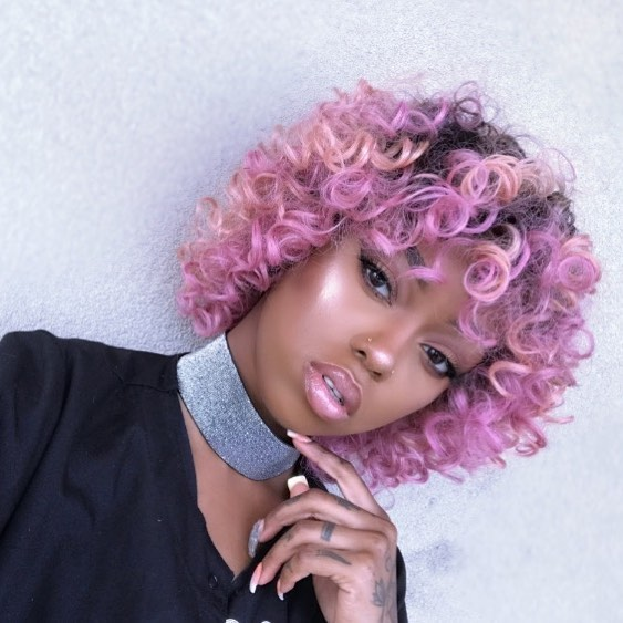 Lavender Pink Curly Bangs for Curly Hair