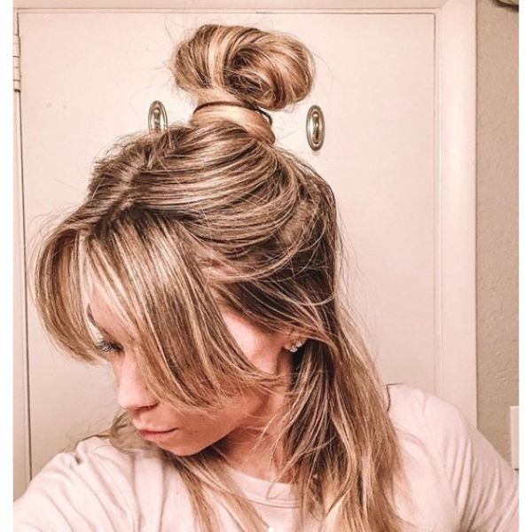 Lazy Half-up Bun Updo  for Medium Hair