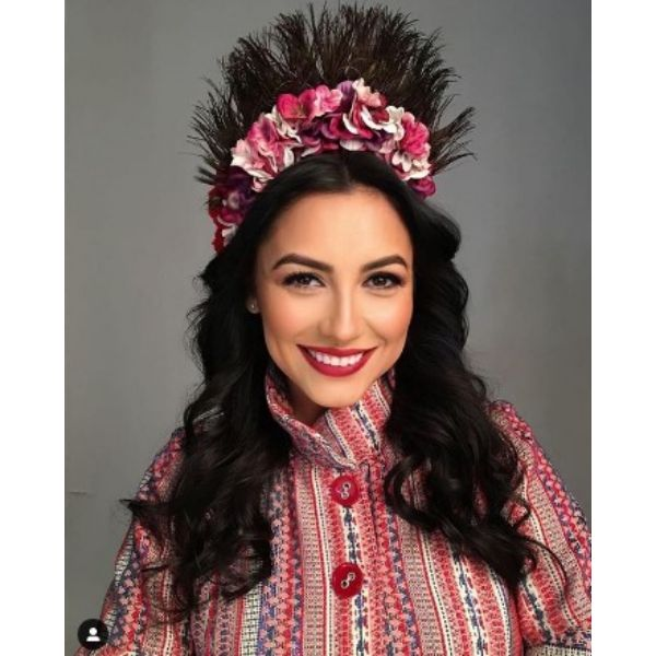 Long Curly Hairstyle With Traditional Headband