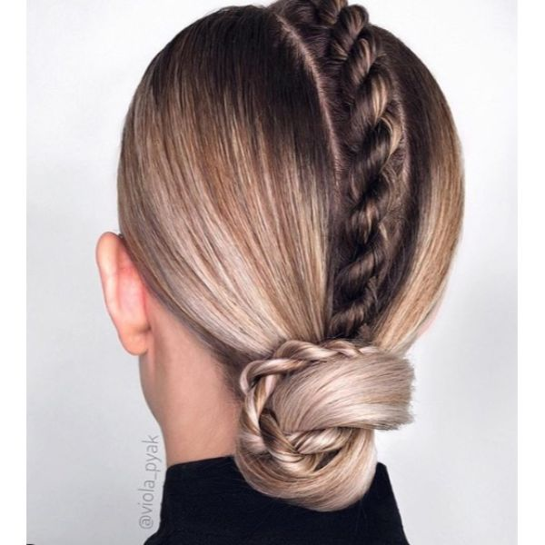 Low Bun with Central Twisted Braid