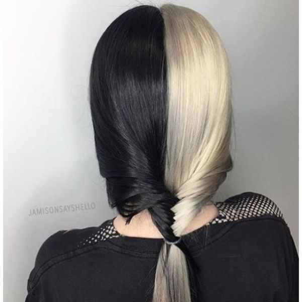 Medium Black and White Short Fishtail