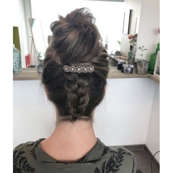 Messy Bun with Back Braid Updo