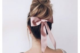 Messy Bun with Glossy Bow Updo