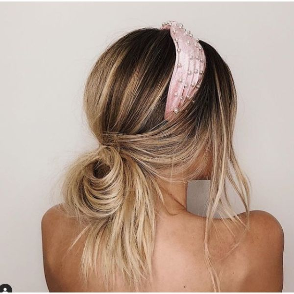 Messy Half Pulled Low Ponytail with Headband