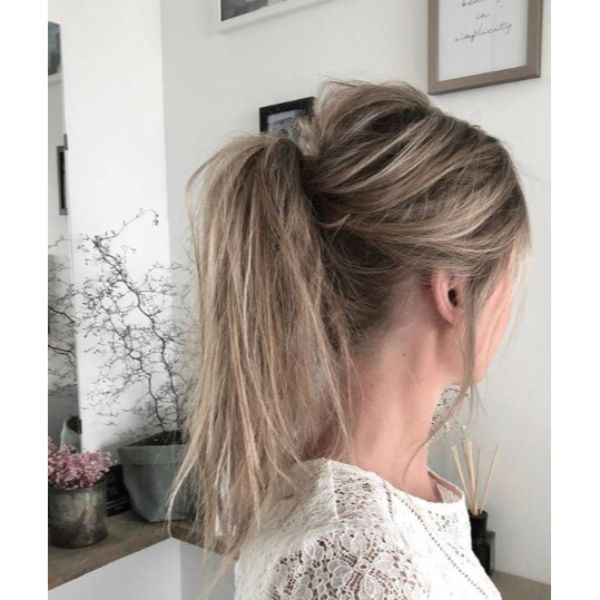 Messy Teased Up Ponytail