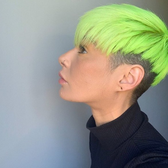 Neon Asymmetric Bangs