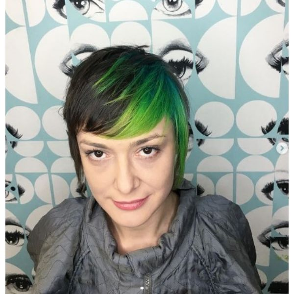 Neon Green Rounded Bangs For Medium Bob Hairstyle