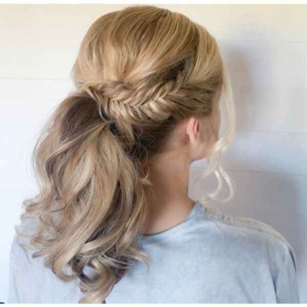 Party Ponytail Bride Updo for Medium Blonde Hair