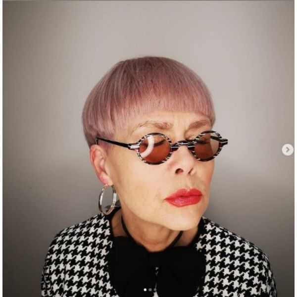 Pastel Pink Bowl-cut Hairstyles For Women Over 60