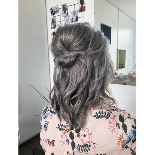 Puffy Half Updo with Knot