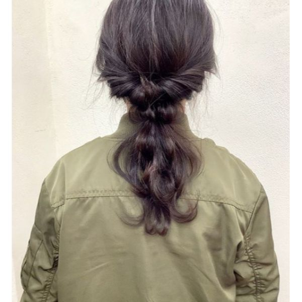 Pulled-Through Messy Braid for Medium Dark Hair