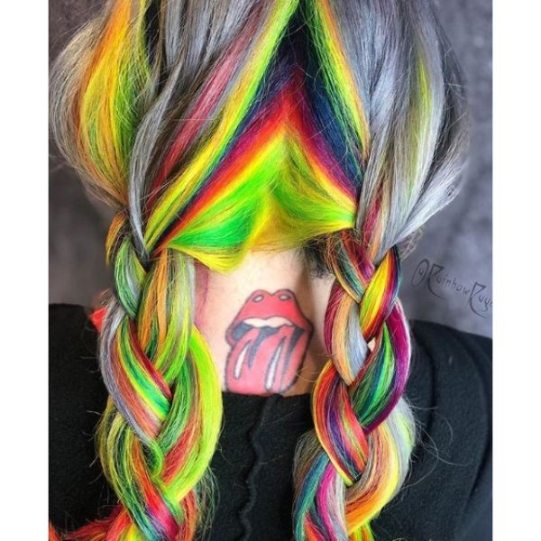 Rainbow Colored Back Braids Updo for Medium Hair